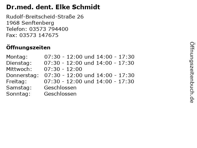 Dr.med. dent. Elke Schmidt in Senftenberg: Adresse und Öffnungszeiten