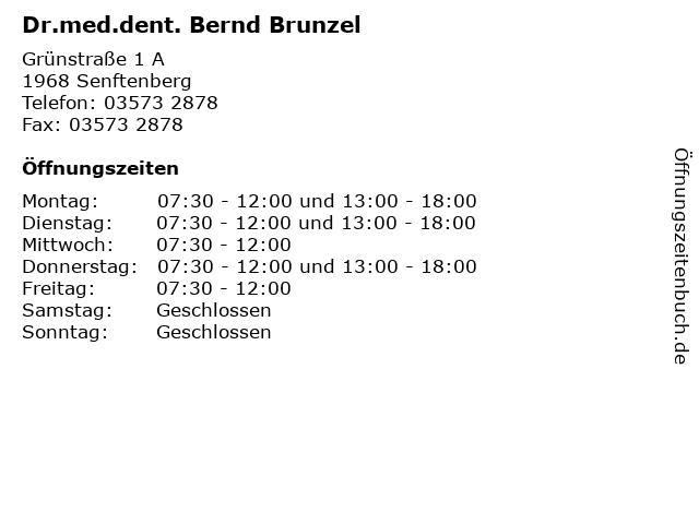 Dr.med.dent. Bernd Brunzel in Senftenberg: Adresse und Öffnungszeiten
