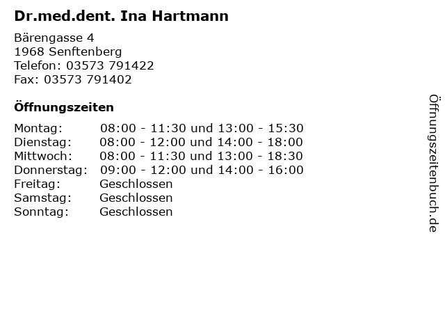 Dr.med.dent. Ina Hartmann in Senftenberg: Adresse und Öffnungszeiten