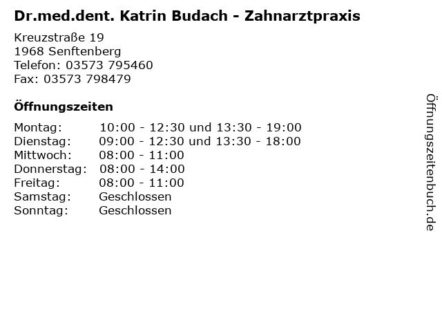 Dr.med.dent. Katrin Budach in Senftenberg: Adresse und Öffnungszeiten