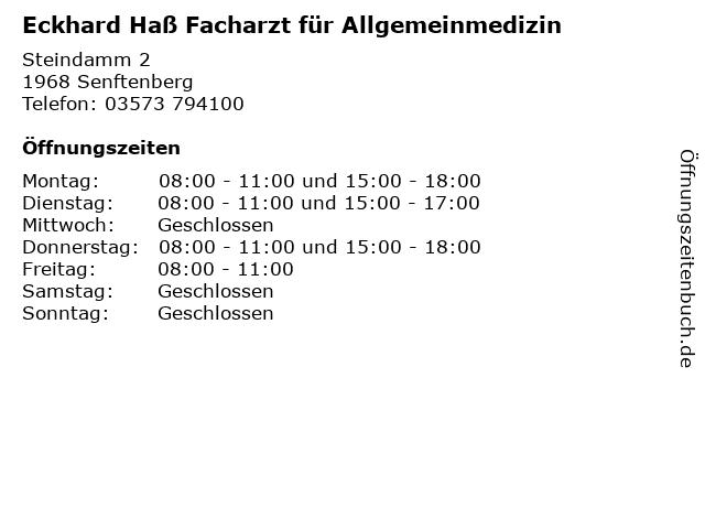 Eckhard Haß Facharzt für Allgemeinmedizin in Senftenberg: Adresse und Öffnungszeiten