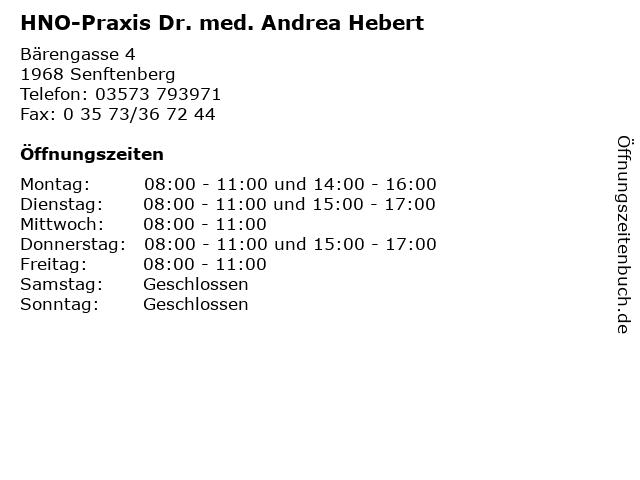 HNO-Praxis Dr. med. Andrea Hebert in Senftenberg: Adresse und Öffnungszeiten