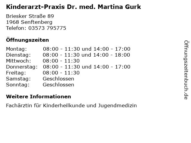 Kinderarzt-Praxis Dr. med. Martina Gurk in Senftenberg: Adresse und Öffnungszeiten