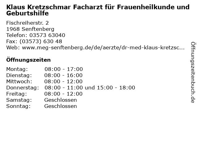 Klaus Kretzschmar Facharzt für Frauenheilkunde und Geburtshilfe in Senftenberg: Adresse und Öffnungszeiten