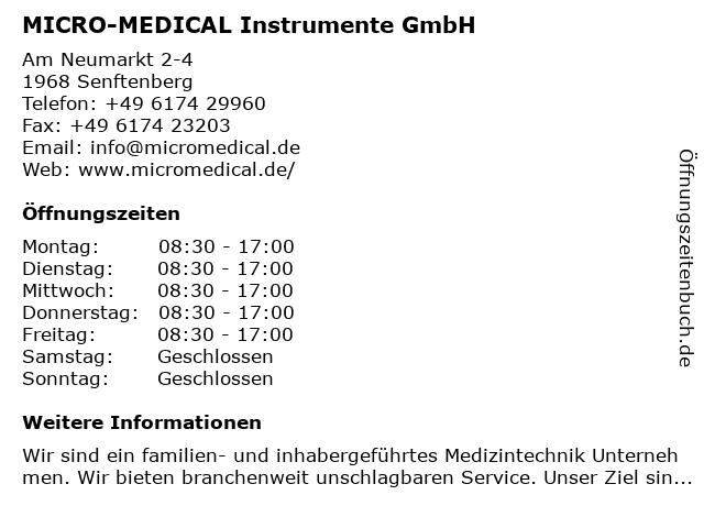 MICRO-MEDICAL Instrumente GmbH in Senftenberg: Adresse und Öffnungszeiten