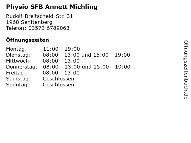 Physio SFB Annett Michling in Senftenberg: Adresse und Öffnungszeiten