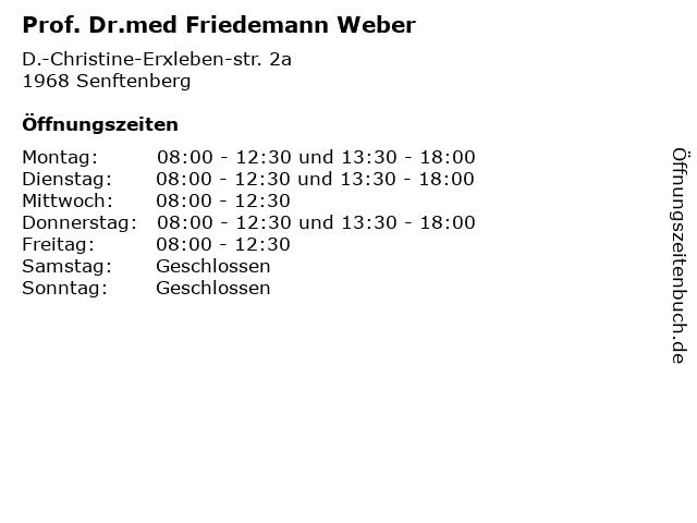Prof. Dr.med Friedemann Weber in Senftenberg: Adresse und Öffnungszeiten
