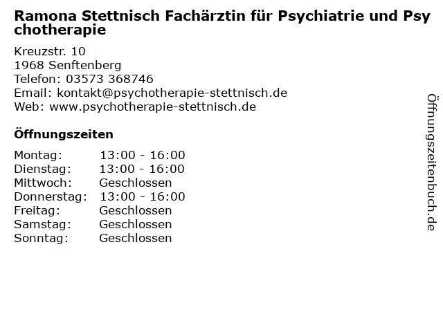 Ramona Stettnisch Fachärztin für Psychiatrie und Psychotherapie in Senftenberg: Adresse und Öffnungszeiten