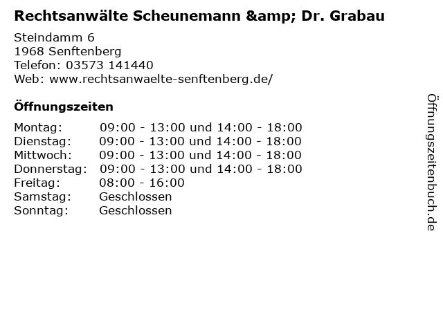 Rechtsanwälte Scheunemann & Dr. Grabau in Senftenberg: Adresse und Öffnungszeiten