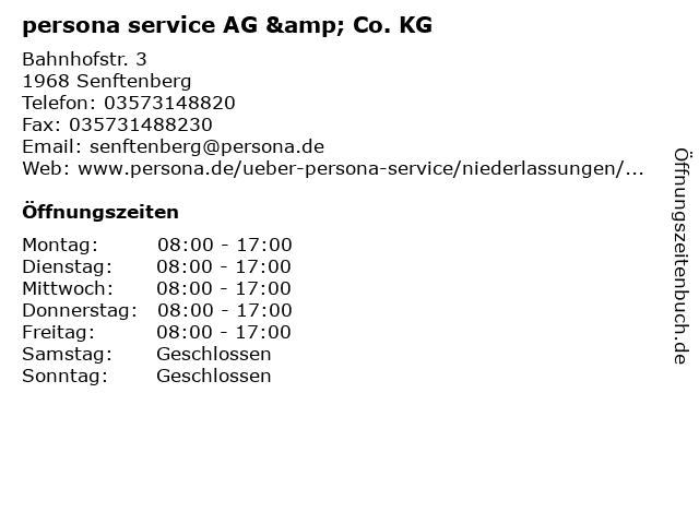 persona service AG & Co. KG in Senftenberg: Adresse und Öffnungszeiten