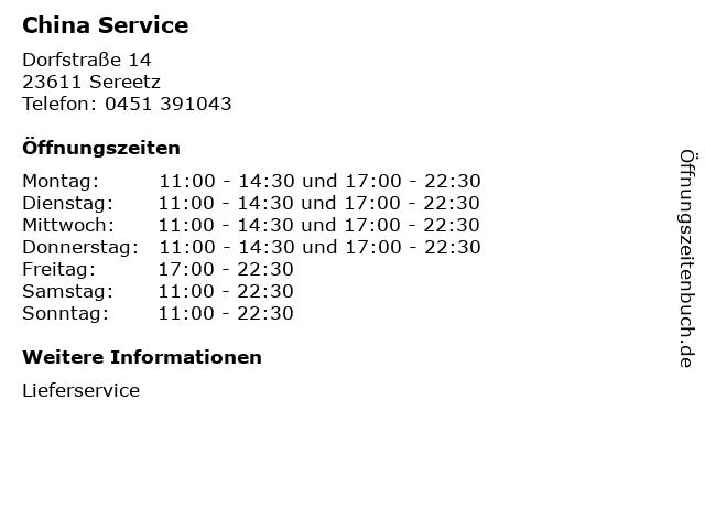 China Service in Sereetz: Adresse und Öffnungszeiten