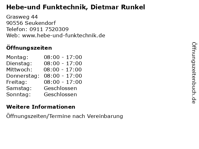 Hebe-und Funktechnik, Dietmar Runkel in Seukendorf: Adresse und Öffnungszeiten
