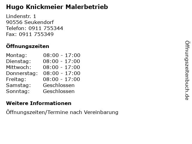 Hugo Knickmeier Malerbetrieb in Seukendorf: Adresse und Öffnungszeiten