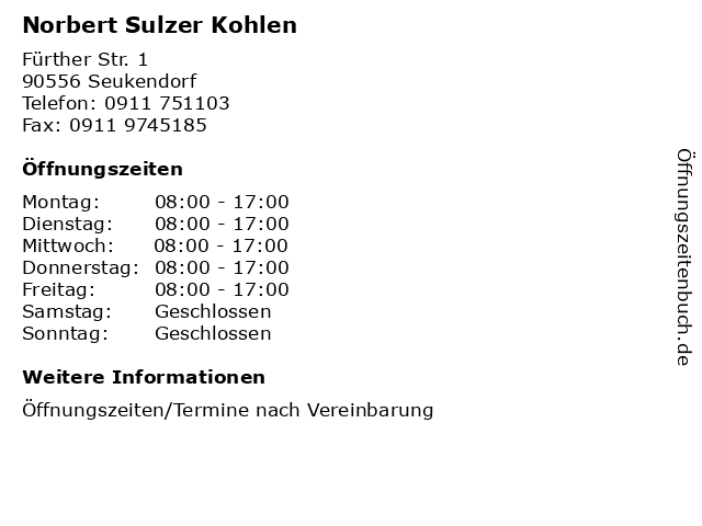 Norbert Sulzer Kohlen in Seukendorf: Adresse und Öffnungszeiten