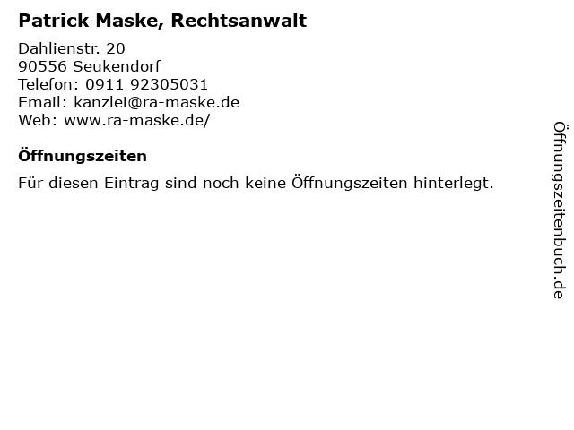 Patrick Maske, Rechtsanwalt in Seukendorf: Adresse und Öffnungszeiten