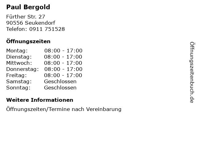 Paul Bergold in Seukendorf: Adresse und Öffnungszeiten