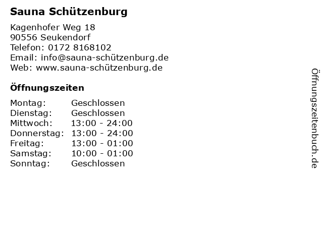 Sauna Schützenburg in Seukendorf: Adresse und Öffnungszeiten