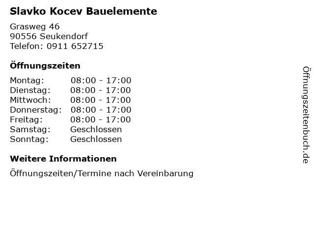 Slavko Kocev Bauelemente in Seukendorf: Adresse und Öffnungszeiten