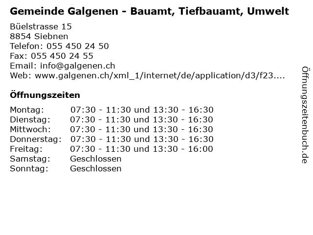 Gemeinde Galgenen - Bauamt, Tiefbauamt, Umwelt in Siebnen: Adresse und Öffnungszeiten