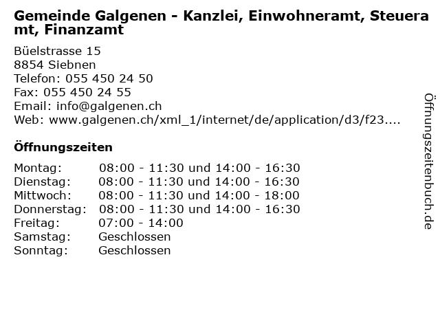 Gemeinde Galgenen - Kanzlei, Einwohneramt, Steueramt, Finanzamt in Siebnen: Adresse und Öffnungszeiten