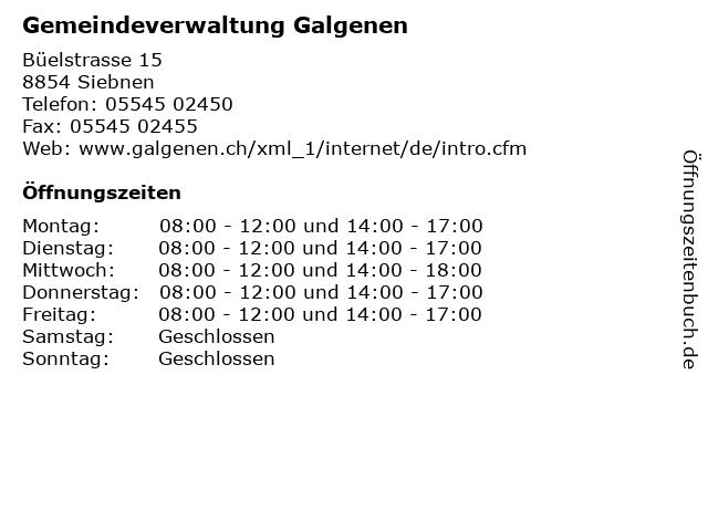 Gemeindeverwaltung Galgenen in Siebnen: Adresse und Öffnungszeiten
