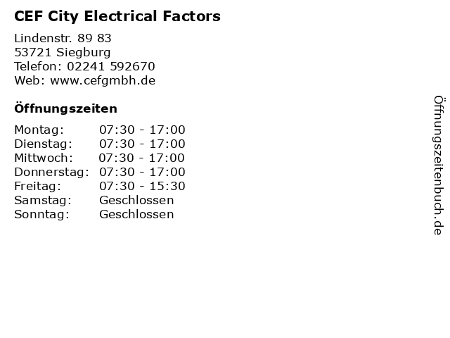 CEF City Electrical Factors in Siegburg: Adresse und Öffnungszeiten