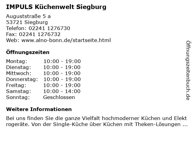 ᐅ Offnungszeiten Impuls Kuchenwelt Siegburg Auguststrasse 5 A In