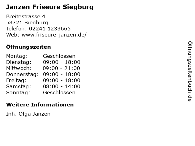 Janzen Friseure Siegburg in Siegburg: Adresse und Öffnungszeiten