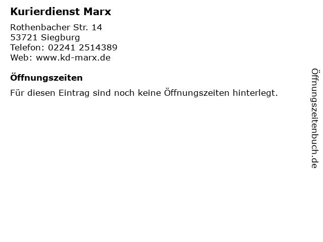 Kurierdienst Marx in Siegburg: Adresse und Öffnungszeiten
