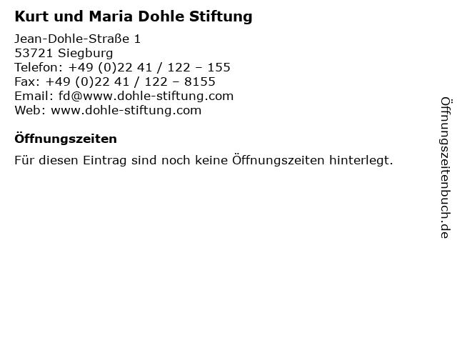 Kurt und Maria Dohle Stiftung in Siegburg: Adresse und Öffnungszeiten