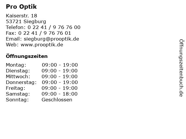 Pro Optik in Siegburg: Adresse und Öffnungszeiten