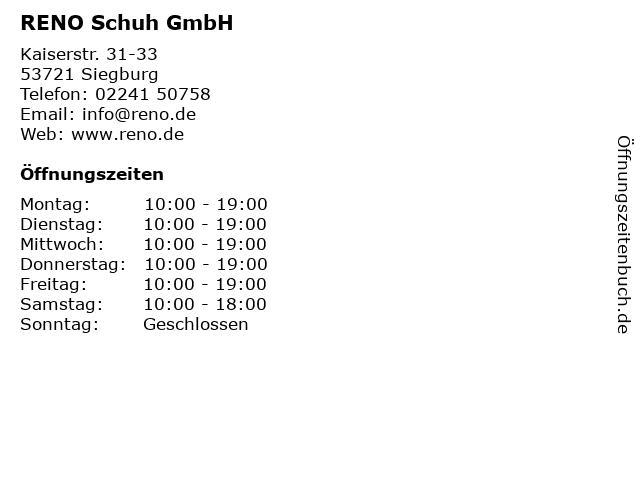 RENO Schuh GmbH in Siegburg: Adresse und Öffnungszeiten