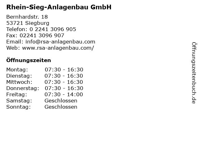 Rhein-Sieg-Anlagenbau GmbH in Siegburg: Adresse und Öffnungszeiten