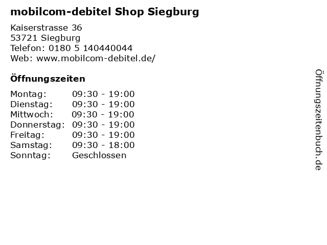 mobilcom-debitel Shop Siegburg in Siegburg: Adresse und Öffnungszeiten