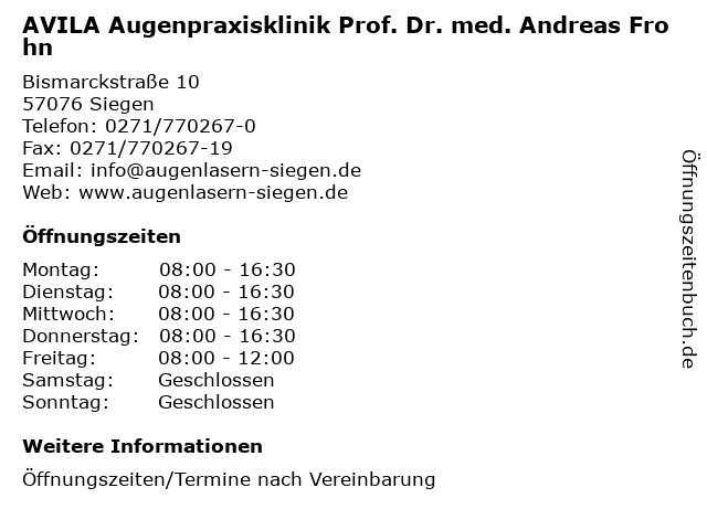 AVILA Augenpraxisklinik Prof. Dr. med. Andreas Frohn in Siegen: Adresse und Öffnungszeiten