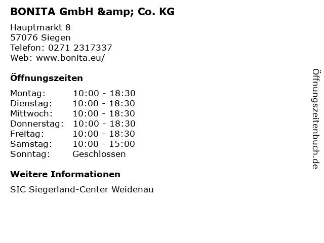 BONITA GmbH & Co. KG in Siegen: Adresse und Öffnungszeiten