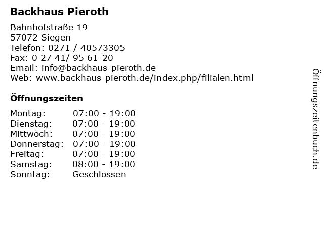 Backhaus Pieroth in Siegen: Adresse und Öffnungszeiten