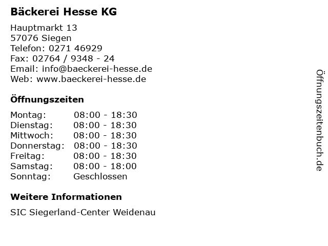 Bäckerei Hesse KG in Siegen: Adresse und Öffnungszeiten
