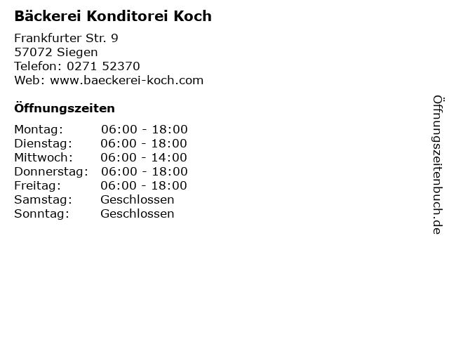 Bäckerei Konditorei Koch in Siegen: Adresse und Öffnungszeiten