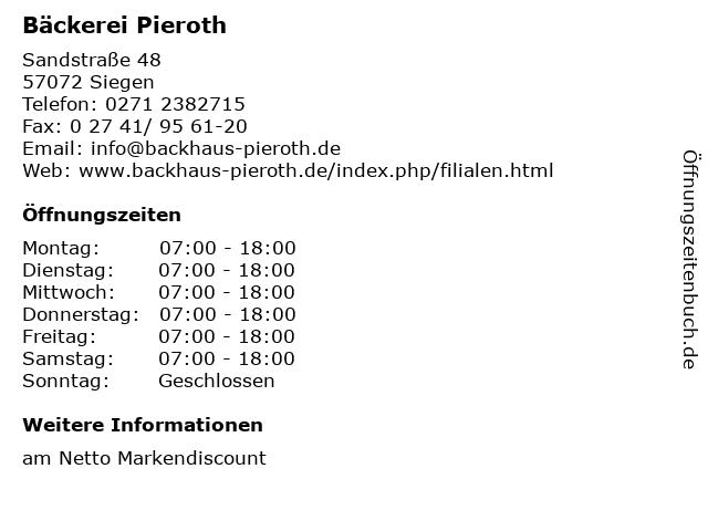 Bäckerei Pieroth in Siegen: Adresse und Öffnungszeiten