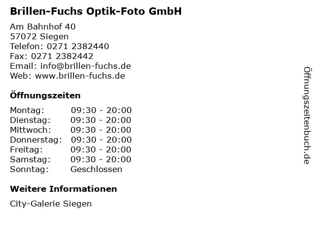 Brillen-Fuchs Optik-Foto GmbH in Siegen: Adresse und Öffnungszeiten