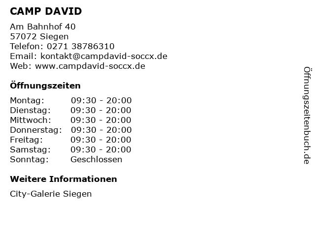 CAMP DAVID in Siegen: Adresse und Öffnungszeiten