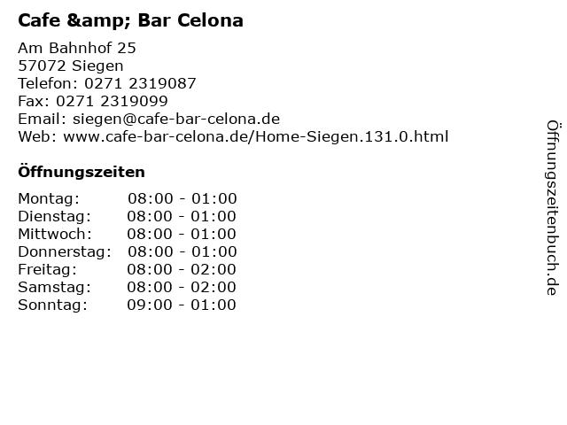 Cafe & Bar Celona in Siegen: Adresse und Öffnungszeiten