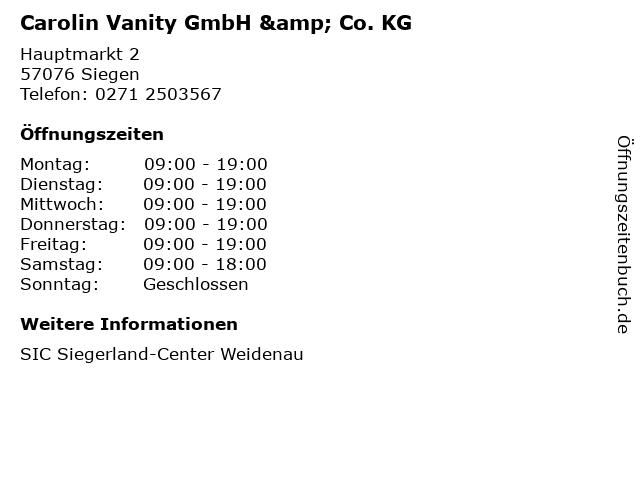 Carolin Vanity GmbH & Co. KG in Siegen: Adresse und Öffnungszeiten