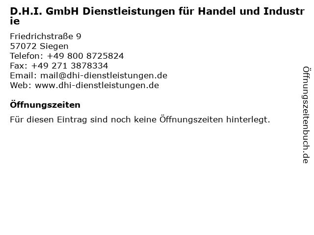 D.H.I. GmbH Dienstleistungen für Handel und Industrie in Siegen: Adresse und Öffnungszeiten