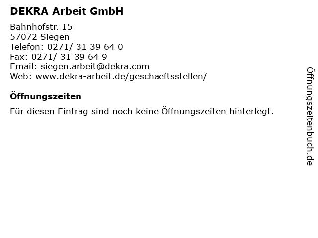 DEKRA Arbeit GmbH in Siegen: Adresse und Öffnungszeiten