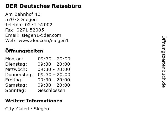 DER Deutsches Reisebüro in Siegen: Adresse und Öffnungszeiten