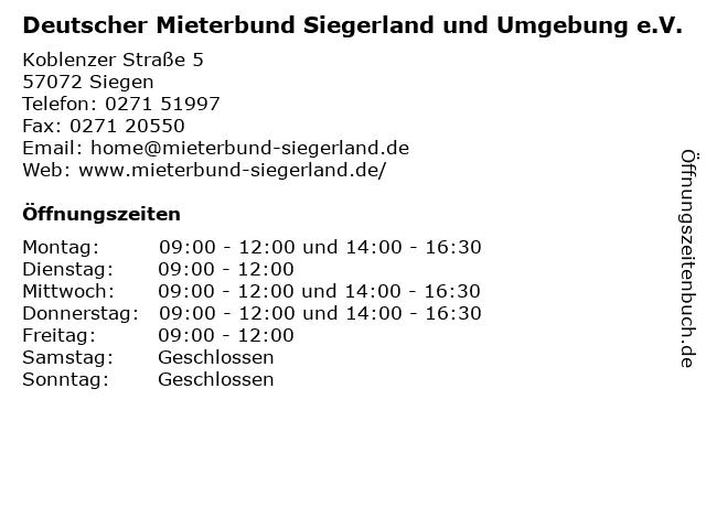 Deutscher Mieterbund Siegerland und Umgebung e.V. in Siegen: Adresse und Öffnungszeiten