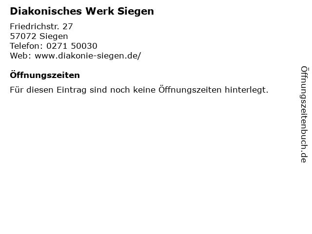 Diakonisches Werk Siegen in Siegen: Adresse und Öffnungszeiten