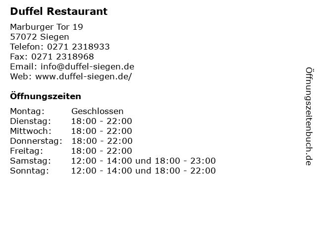 Duffel Restaurant in Siegen: Adresse und Öffnungszeiten
